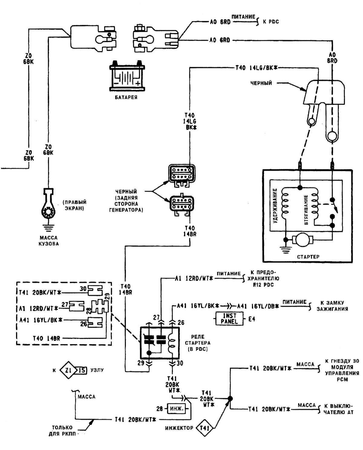 Схема замка зажигания мерседес 190